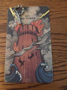 Meine Quintessenz der Jahreslegung 2018. Krone und Türmchen stammen aus dem Magpie Oracle von Carrie Paris, der Tarot-Turm aus dem Morgan Greer Tarot. © U.S. Games