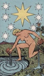 """Diese Version der Tarotkarte """"Stern"""" stammt aus dem RWS-Borderlesstarot, das Teil der Public Domain ist"""